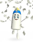 Baby Bottle character with dollars — Stok fotoğraf