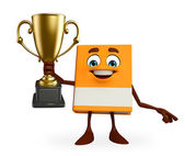 Book Character with trophy — Stock Photo