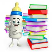 Baby Bottle character with Books pile — Stockfoto