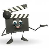 Clapper Board Character with holding pose — Stock Photo