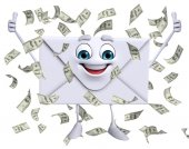 Mail Character with dollars — 图库照片