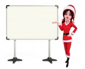 Santa Girl Character with display board — Foto de Stock