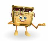 Treasure box character with pointing — Foto Stock