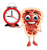 Meat steak character with table clock  — Zdjęcie stockowe