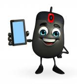 Computer Mouse Character with mobile — Stock Photo