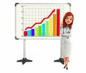 Young Doctor with business graph — Zdjęcie stockowe
