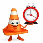 Construction Cone Character with table clock — Stockfoto