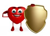 Heart Shape character with shield — Foto de Stock