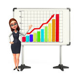 Young office girl with business graph — Stock Photo