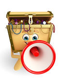 Treasure box character with Loudspeaker — Foto Stock