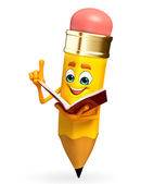 Pencil Character is read a book — Stok fotoğraf