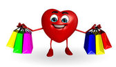 Heart Shape character with shopping bag — Stock Photo