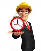 Young Business Man with table clock — Foto Stock