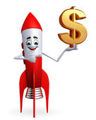 Rocket character with dollar sign — Stock Photo