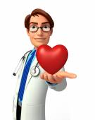 Young Doctor with red heart — Stock Photo