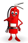 Fire Extinguisher character is pointing — Stock Photo
