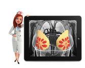 Nurse Character with  breast anatomy — Foto de Stock