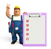 Young Plumber with notepad — Stock Photo