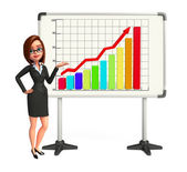 Young Business Woman with business graph — Zdjęcie stockowe