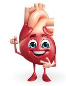Caráter de coração com apontando — Fotografia Stock