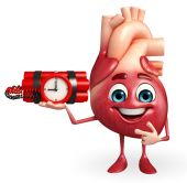 Heart character with time bomb — Stock Photo