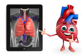 Heart character with lungs anatomy  — Foto de Stock