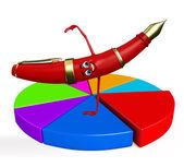 Stift-Charakter mit Business-Grafik — Stockfoto