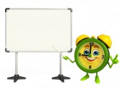 Table clock character with display board — Stock Photo