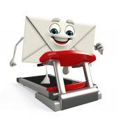 Mail Character with walking machine — Photo