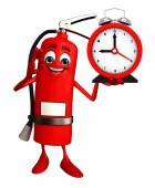 Fire Extinguisher character with table clock — Foto Stock