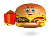 Cartoon character of  burger — Stock Photo