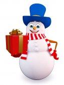 Cartoon Snowman with gift box — Stock Photo