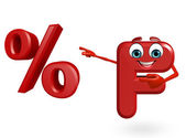 Cartoon Character of alphabet F with percentage sign — Stock Photo