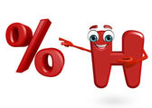Cartoon Character of alphabet H with percentage sign — Stock Photo