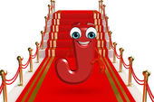 Cartoon Character of alphabet J on the red carpet — Stock Photo