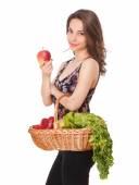 Korb voller gesunder Lebensmittel. — Stockfoto