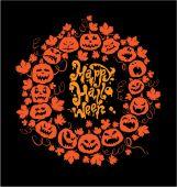 Хэллоуин тыквы на черном Му карт - оранжевый силуэт — Cтоковый вектор