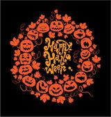 Halloween card - orange silhouette of pumpkins on black backgrou — Stock Vector