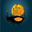 Halloween night: pumpkins silhouette on moon and sky background. — Stock Vector #53941597