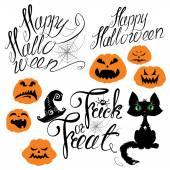 Set of Halloween elements - pumpkin, cat, spider and other terri — Stock Vector