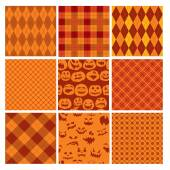 Set of Halloween plaid seamless patterns in orange and brown col — Stock Vector