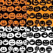 Halloween seamless pattern with pumpkins faces - different emoti — Stock Vector