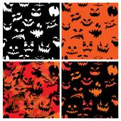 Set of Halloween seamless patterns with pumpkins faces - differe — Stock Vector