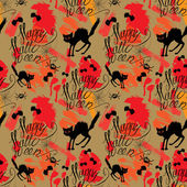Halloween seamless pattern with black cat, bats, spider, web, Ha — ストックベクタ