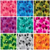 Set of camouflage fabric patterns - different colors. Seamless b — Stock Vector