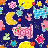 Seamless pattern - sweet dreams - cat, mouse, stars and moon are — Stock Vector