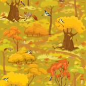 Seamless pattern - Autumn Forest Landscape with trees, mushrooms — Stock Vector