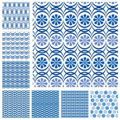 Set of seamless patterns - blue ceramic tiles with floral orname — Stock Vector