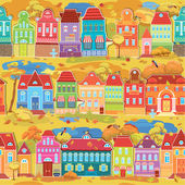 Seamless pattern with decorative colorful houses, fall or autumn — Stock Vector