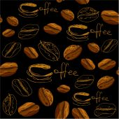 Seamless pattern with handdrawn coffee cups, beans, calligraphic — Stock Vector